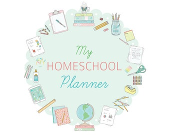 Printable HOMESCHOOL PLANNER - Digital File Instant Download- goals, curriculum planning, schedules, charts, calendars, scripture