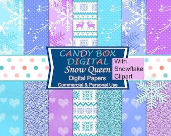 Snowflake Winter Digital Paper, Frozen Nordic Paper - Commercial Use OK
