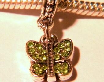 Pearl Libra pendant Shamballa European-Green-Butterfly - 23 mm - D63