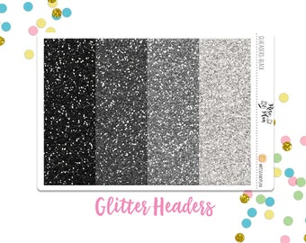 Black & Gray Glitter Headers- Planner Stickers