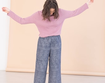 Navy culottes - Blue high waist women pants - Sustainable minimal clothing