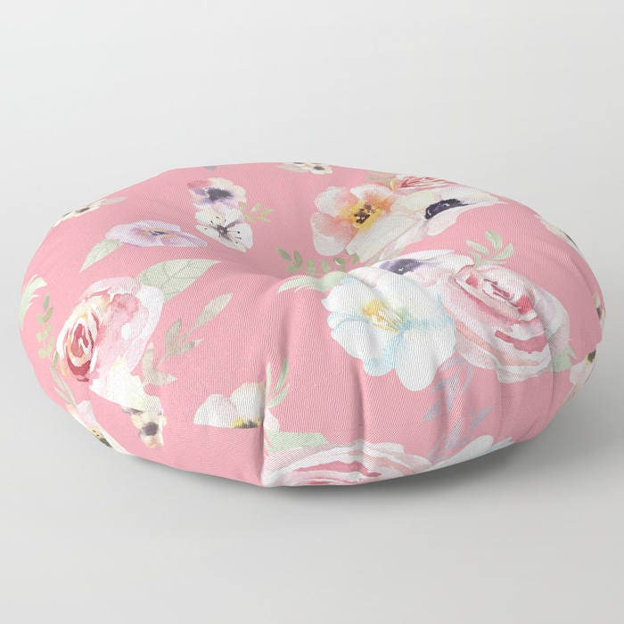 Oversized Floor Pillow - Watercolor Floral I - Bright Pink - Round ...
