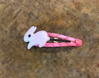 White bunny snap clip