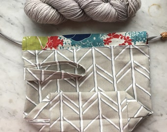 Knitting Take-along Project Bag/Gray & Floral /Handmade/Gifts for Knitters/Repurposed/Drawstring bag/Crochet bag