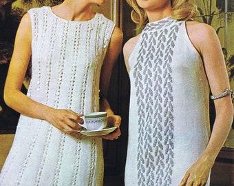 Two Knitting PDF Patterns Sequin Trim Dress Cold Shoulder Grecian Dress Sizes 8-18 Vintage Instant Digital PDF e-Pattern Instant Download