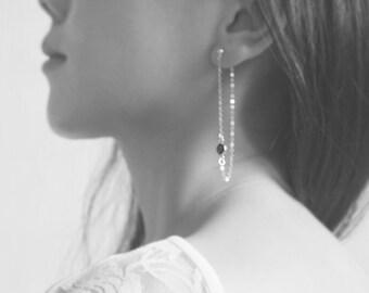 lea - Threader Earrings, Sterling Silver Long Earrings, Minimalist, Stud Chain Earring, Gold-filled Earrings, Dangle Black CZ stones