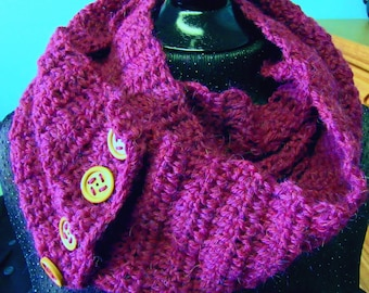 Womans Orchid Alpaca Wool Scarf Versatile Infinity Hand Dyed Cowl Crochet knit Button Circle Loop Mothers Day Birthday Gift Fashionable Chic