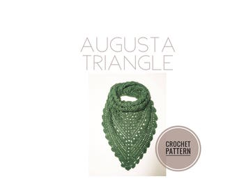 Augusta Triangle Crochet Pattern | Scarf Pattern | Shawl Pattern | Crochet Shawl Pattern | Crochet Scarf Pattern | Triangle Scarf Pattern