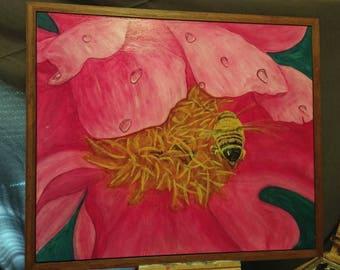 "Pink Peony Painting, Acrylic Original Art, Honey Bee, Pink Flower Painting, 20"" x 24"" Acrylic Painting"