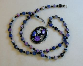 Purple Fire Agate-stone necklace with glass cabochon pendant, 28 inches or 71 cm