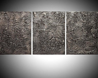 """affordable ART triptych 3 panel wall modern gray silver metal home decor office interior on canvas original painting abstract 27 x 12"""""""