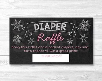 Pink Snowflake Chalkboard Diaper Raffle Tickets / Snowflake Baby Shower / Winter Baby Shower / Baby Girl Shower / INSTANT DOWNLOAD A301