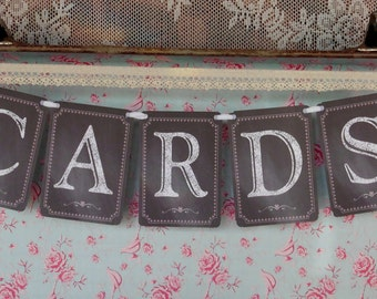 Wedding Sign, Wedding Cards Bunting, Wedding Cards Banner, Chalkboard Bunting, Photo Prop Signs, Reception Sign, Wedding Reception Bunting