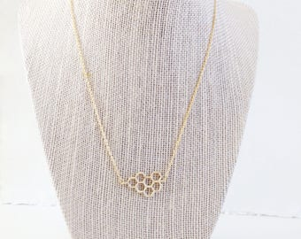 Gold Honeycomb Necklace || Delicate Necklace, Geometric Necklace, Simple Jewelry Necklace, Minimalist Necklace