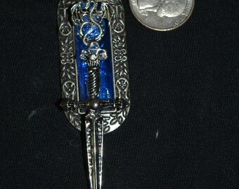 Silver and Blue stone pendant dragon sword fantasy necklace 24 in chain