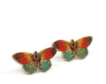 Orange Butterfly Post Earrings Butterfly Earrings Post Earrings Bug Earrings Studs Shrink Plastic Orange Earrings Stainless Steel