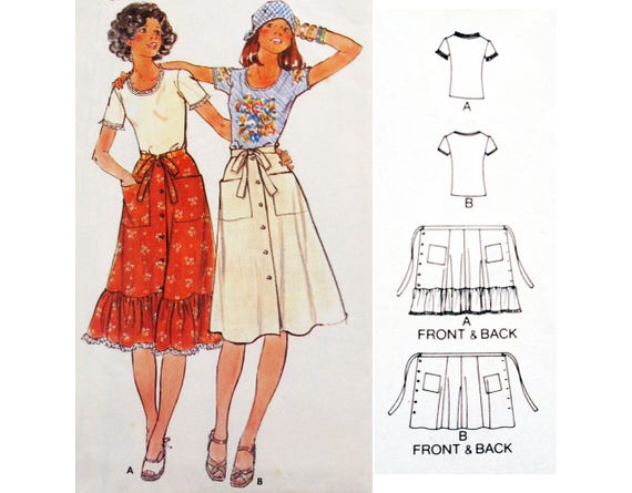 VINTAGE 70\'s Wrap Skirt and Tshirt UNCUT Sewing Pattern BUTTERICK ...