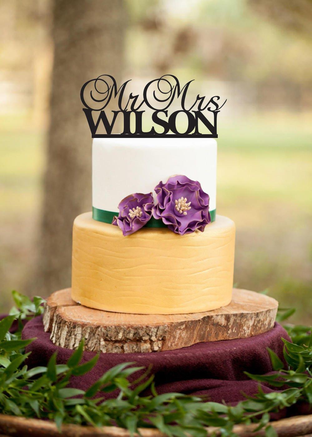 Custom Wedding Cake Topper Custom Last Name Mr and Mrs Cake