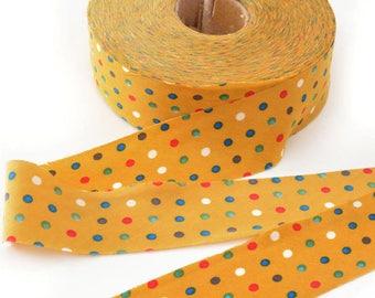 Haberdashery 1 coil through flat 50métres largeur3.4cm mustard polka dot chiffon multicolor