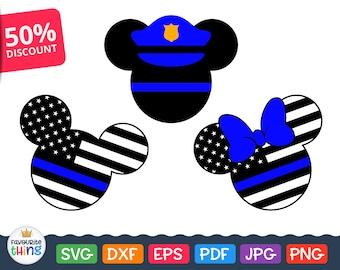 Svg Blue Line Svg Police Svg Mickey Mouse Police Officer Svg - Police Child Svg cut Files for Cricut, Silhouette files Dxf Eps Png Jpg Pdf