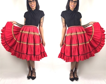 1950's Super Full Swing Dance Patio Skirt //27  28 29 inch waist // Red Green Yellow Black Rick Rack Trim // Vintage Mid Century