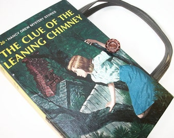 Book Purse Nancy Drew Clue of the Leaning Chimney Handbag Upcycled Book Bag Trendy Vintage Book Purse