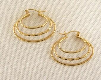 Unique Vintage 14K Yellow Gold Triple Hoop Earrings
