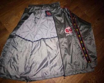 WU WEAR jacket, Wu Tang windbreaker, vintage hip hop shiny gray shirt, 1996 sewn authentic Wu Tang Clan jersey 90s gangsta rap size M Medium