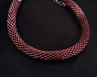 This bracelet is hand crocheted spiral with miyuki beads feasible to order.