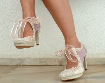 Wedding Shoes - Sheer Bridal Shoes with Blush Embellished Lace and Ribbons