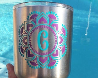 Initial mandala monogram decal for yeti, mug, wine glass, phone, laptop, etc