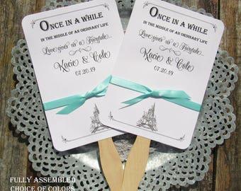 Fairytale Wedding |  Fairytale Wedding Fans | Wedding Favor Fans | Assembled Wedding Fans | Cinderella Wedding |  Wedding Favor Fan