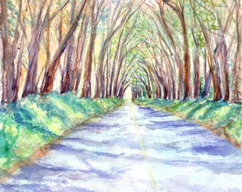 kauai tree tunnel 8x10 prints hawaiian paintings tunnel of trees original watercolor kauai artist kauaiartist giclee print maluhia road
