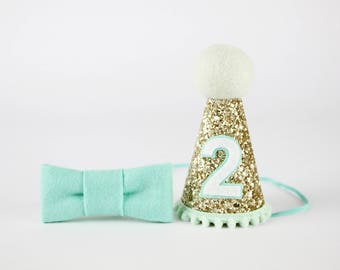 Birthday Hat | Party Hat | Glitter Party Hat | First Birthday Party | Second Birthday Photo Prop Decor Favors | Gold + Mint