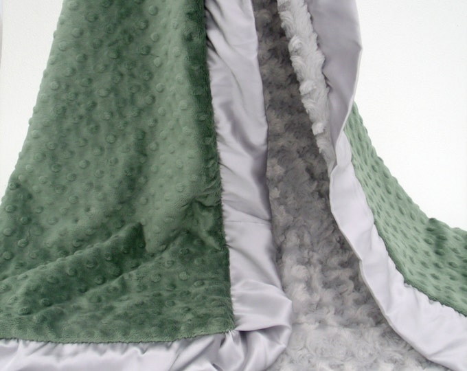 Olive Green and Silver Gray Minky Blanket
