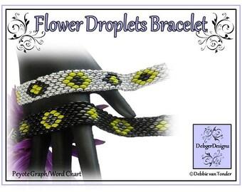 Beading Pattern, Tutorial, Bracelet - FLOWER DROPLETS