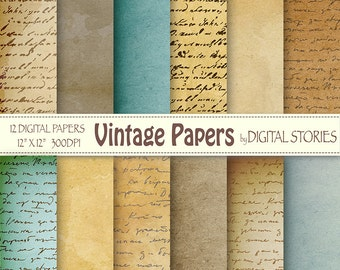 """Old paper digital paper pack: """"VINTAGE PAPERS"""" Textured handwritting papers for scrapbooking, invites, cards, background"""