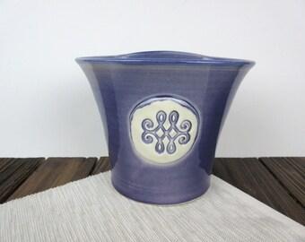 Purple ceramic wall planter, wall vase, pottery hanging planter flower pot, porch pot