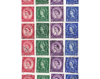24 Red Purple Blue Green Wildings mix British stamps postage stamps - Vintage used Stamps
