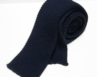 Vintage Cotton Knit Necktie - Navy Blue - Square End Tie