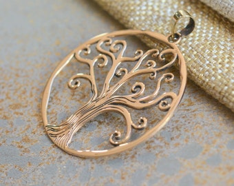 Large Round Bronze Tree of Life Pendant, Bronze Pendant, Tree of Life, Round Tree of Life Pendant, Swirling  Branches, 40mm, One,JH15-027