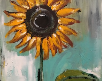 Original Sunflower Painting on a Wood Panel Turquoise Blue Flower Art
