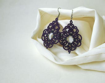 Purple jewelry Anniversary gift for girlfriend  Bohemian jewelry Tatted lace jewelry Art deco earrings Beautiful victorian violet earrings