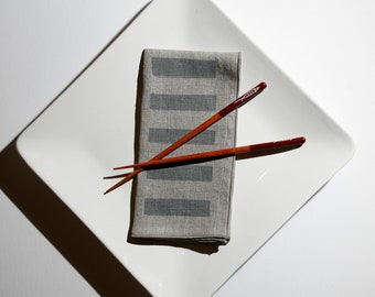 Natural Linen Dinner Napkins - Block Printed Linen Napkins - Wedding Napkins, Reusable Napkins, Cloth Napkins, Large Cloth Napkins