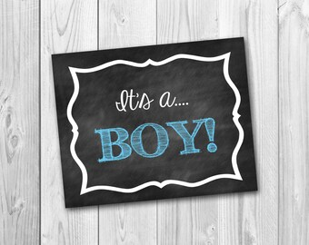 It's a boy, chalkboard printable, baby announcement, photo prop, instant download