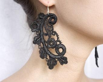 Lace earrings - FERN - Black or white lace