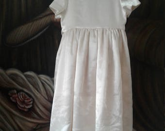 Flower Girl Dresses, Ivory Dress, Rustic Dresses, Vintage, Satin, Weddings, First Communion, wedding parties, Christmas Gifts, Little Girls,