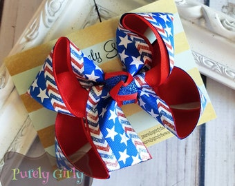 Patriotic Hairbow Small July 4th Hairbow Stars Bow Red White and Blue Hairbow