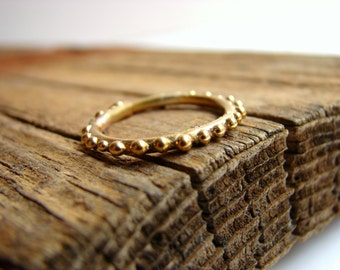 Skinny gold stacking ring Dot ring Granulated ring Sterling silver Bubble ring