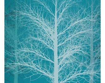 Forbidden Forest, Original Art Print, Landscape, Nature, Trees, 12x12